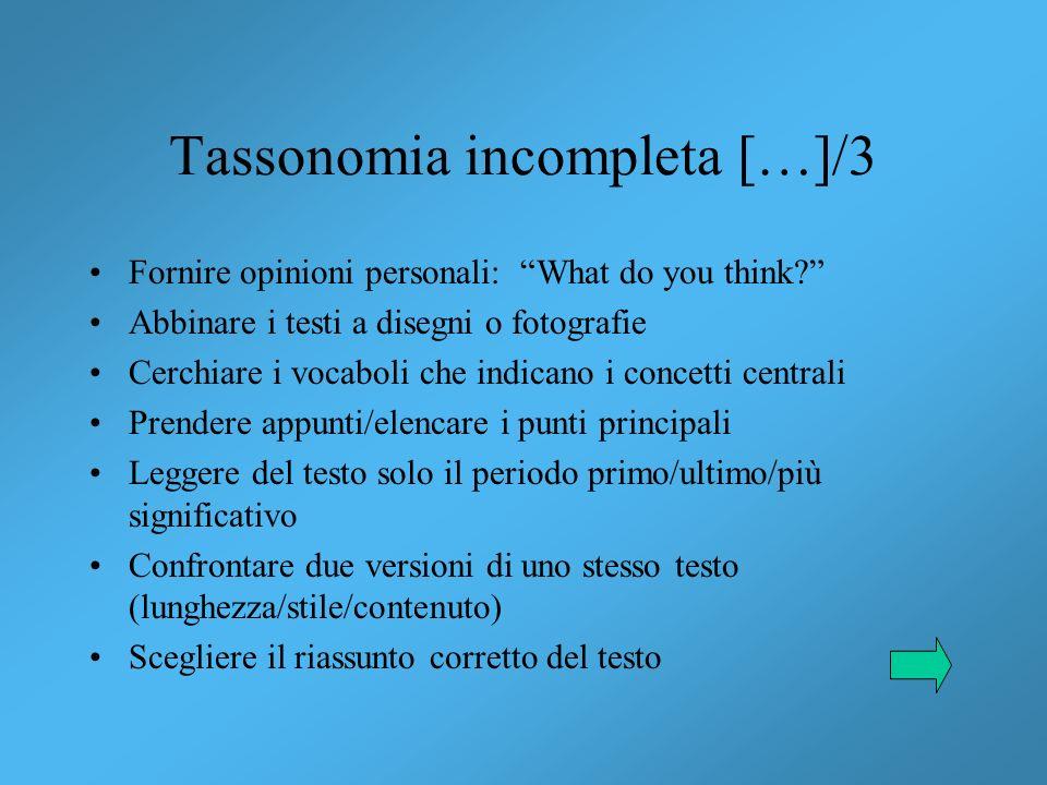 Tassonomia incompleta […]/3